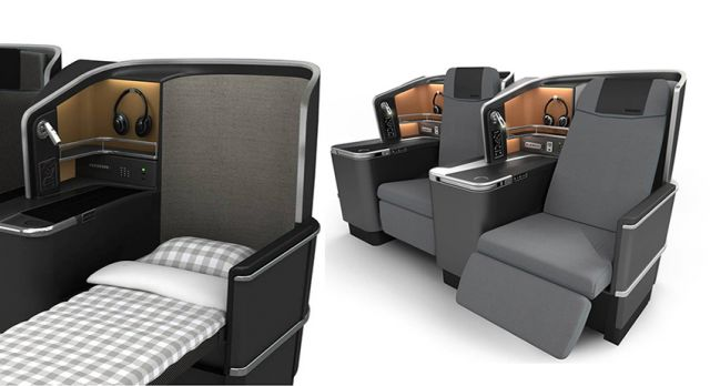 The business class seats can be reclined into flat beds.