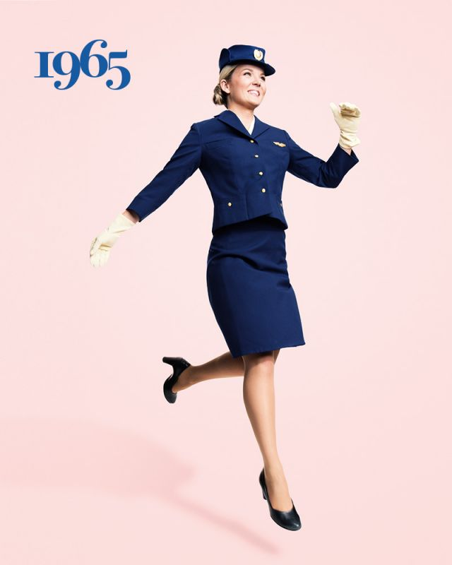SAS flight attendant Ellinor Wickbom, here showing off the Carven uniform, has worked for SAS since 2012. Photo: Karl Nordlund
