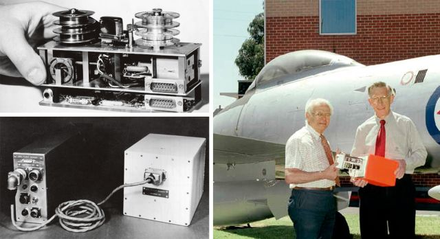 Top left: The very first version from 1958. Bottom left: Black box Mk2 from 1962. Right: David Warren and Ken Fraser holding a black box unit in 2001.