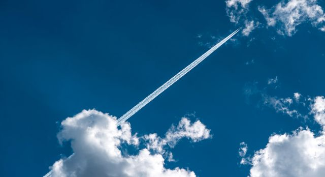 The trails in the sky left by planes are called contrails, which is short for condensation trails. Photo: Shutterstock