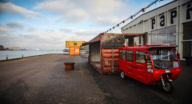 A red food truck at the entrance to Papirøen. Photo: Andrew Blackwell