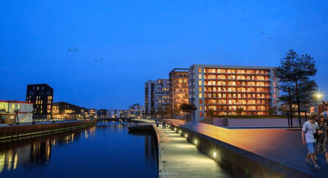 Odense industrial harbor has been transformed into modern docklands blocks. Photo: Ibi Group