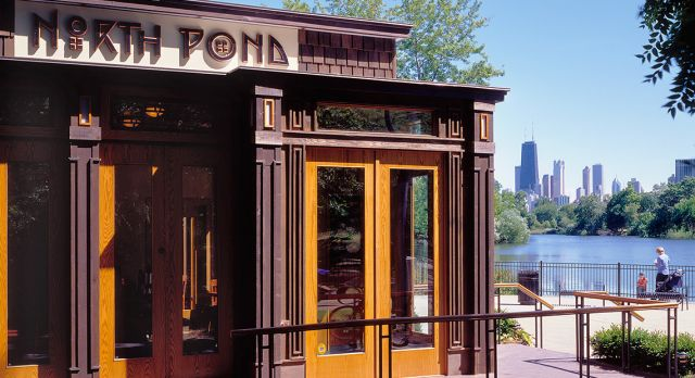 Situated within the grounds of Lincoln Park, at the edge of a pond overlooking the Chicago skyline, North Pond claims to have one of the loveliest settings in the city. Photo: The North Pond