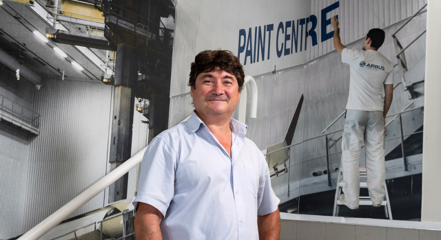 Patrick Gerussi at the Airbus paint shop in Toulouse, France.