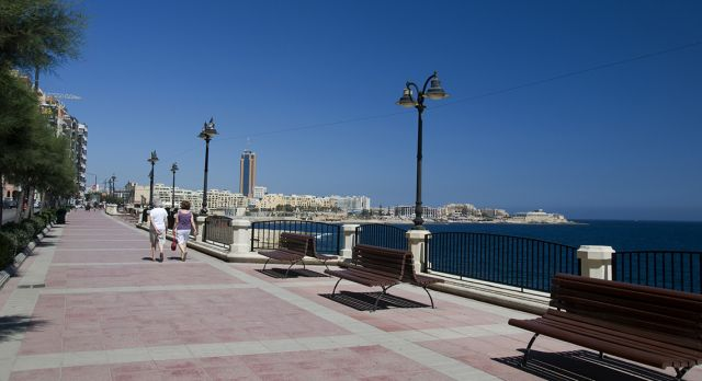 The beach promenade from Sliema to St. Julian's. Photo: Shutterstock
