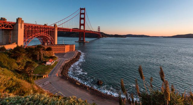 Take a walk to San Fransisco's Golden Gate Bridge.