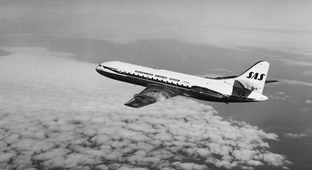 One of SAS's Caravelles in the air at 1960s.