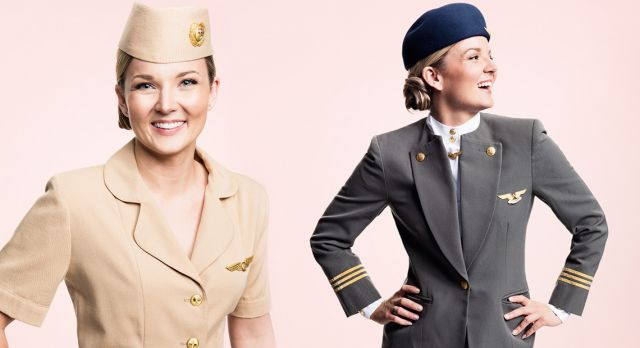 SAS flight attendants Ellinor Wickbom and Elin Maxweller shows us some of the vintage SAS uniforms. Photo: Karl Nordlund