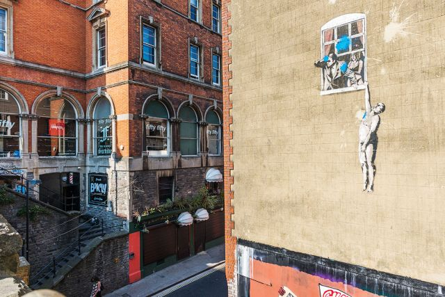 World famous, Bristol-based graffiti artist Banksy has left his mark on the city. Photo: Mauro Rongione