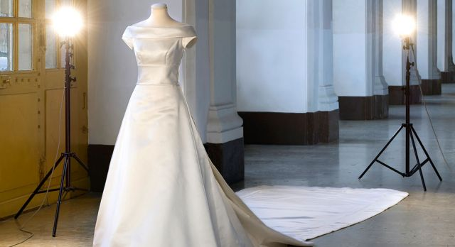 The wedding gown worn by Sweden's Crown Princess Victoria, on display at the Royal Castle in Stockholm.