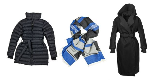 Down jacket and scarf from Fleischer Couture and Norwegian Rains cape, Rive Gauche, with its quilted wool lining.