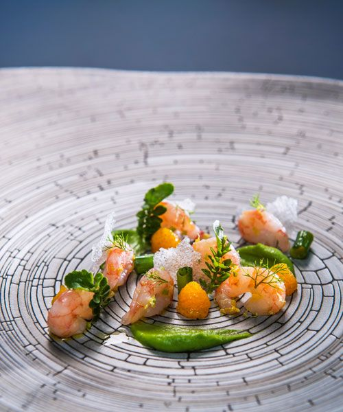 Raw prawn togarashi and airy nuoc mam with avocado and egg cream is Christian André Pettersen's signature dish.