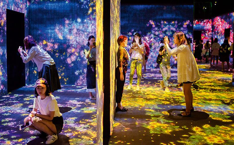 "Living Digital Forest and Future Park by Tokyo-based collective teamLab. The floor-to-ceiling projections have been described as ""walking into a Persian carpet."" Photo: Aurelien Foucault"