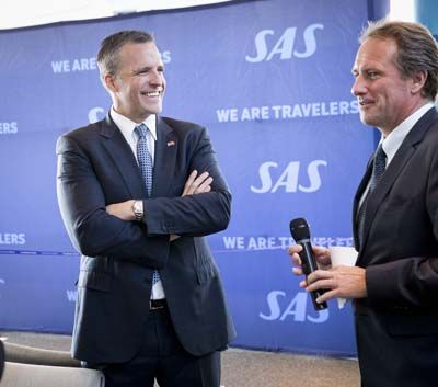 Lars Sandahl Sørensen, COO SAS Group, and the American ambassador, Rufus Gifford. Photo: Tobisch & Guttmann Photopgraphers