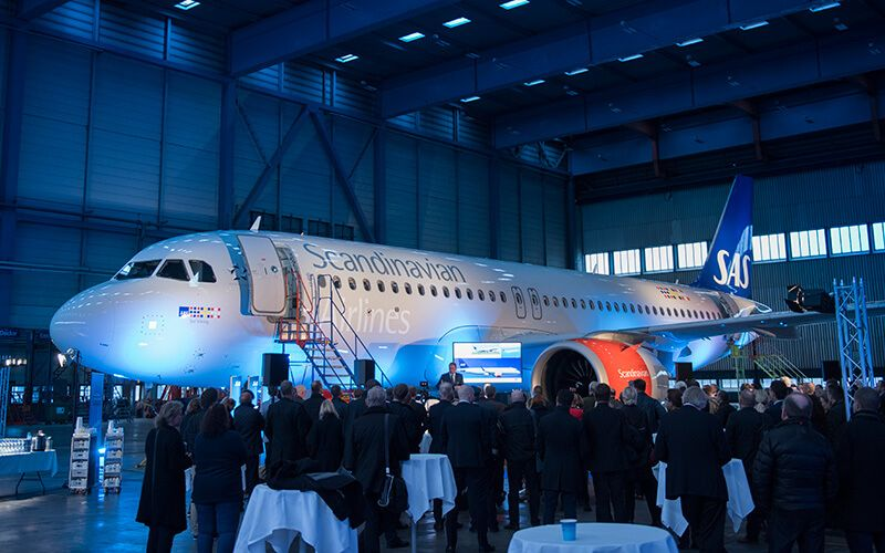 SAS first Airbus A320neo at the inaugural ceremony at Arlanda. Photo: Nicklas Gustafsson