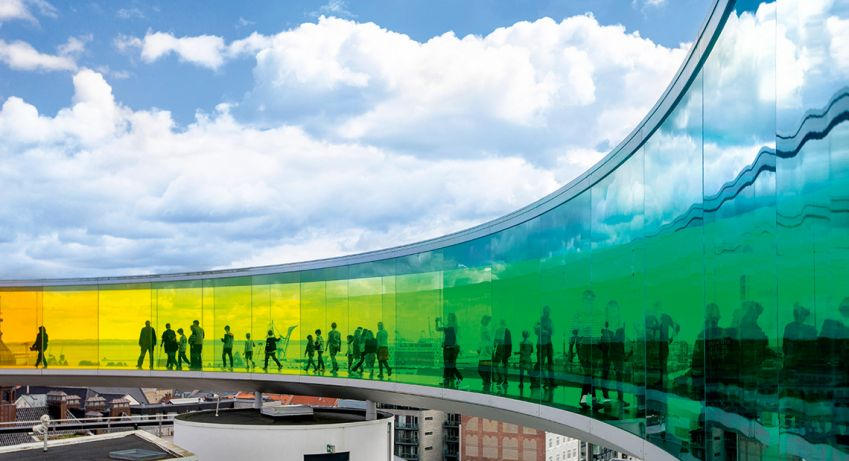 """""""Your Rainbow Panorama"""" an art piece and viewing deck created by the Icelandic–Danish artist Olafur Eliasson. Photo: Magnus Glans"""