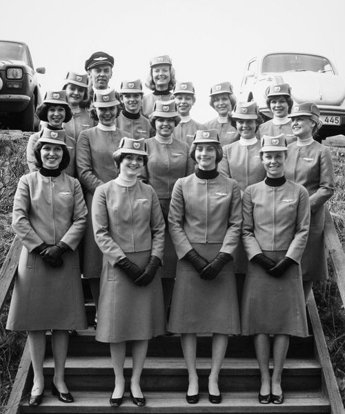 Neste kull flyvertinner på Air Hostess College i Sandefjord fotografert 12. april, 1976.