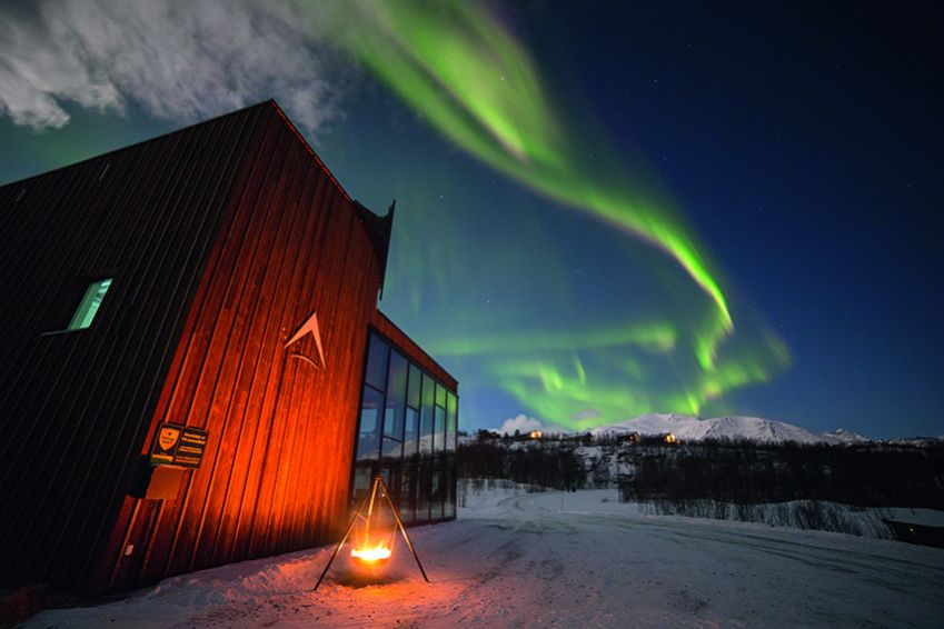Lights on!  The Aurora Spirit Distillery, the world's northernmost distillery.