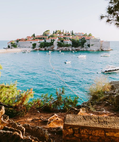 Fantastic 15th century village Sveti Stefan seen from land. Photo: Kirill Shevtsov