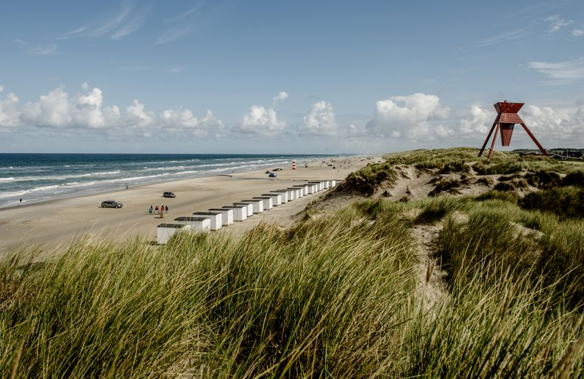 The beaches of the west coast are hard to beat. Shown here are the beach huts at Blokhus. Photo: visitnordjylland