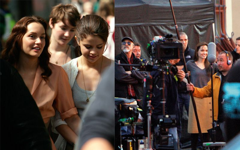 To the left: Leighton Meester and Selena Gomez filming Monte Carlo in Budapest, to the right Angelina Jolie directing Photo: Shutterstock