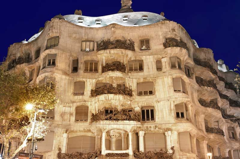 You can now visit Gaudí's Pedrera, in the evening. Don't forget to book in advance online to avoid the lengthy lines. Photo: Shutterstock