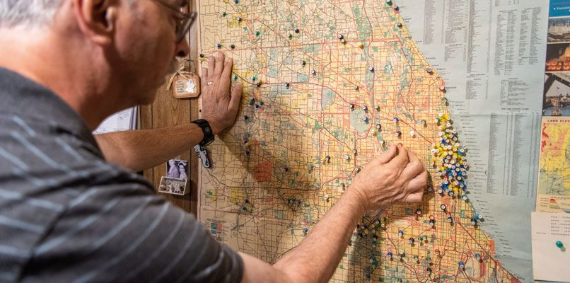 The map of haunted locations throughout Chicago. Photo: Scott Thompson
