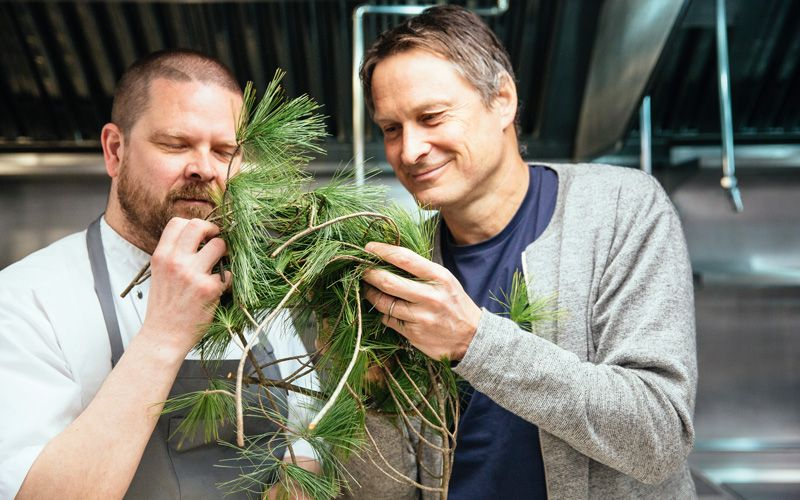 True Nordic ingredient include the ubiquitous pine – with Gunnar Gíslason and Claus Meyer. Photo: Mark Wickens