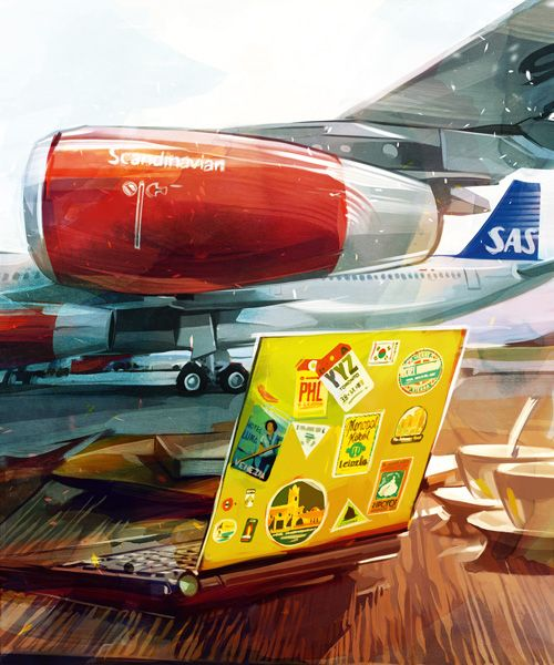 The airport can be an inspiring workplace. Illustration: Viktor Miller Gausa