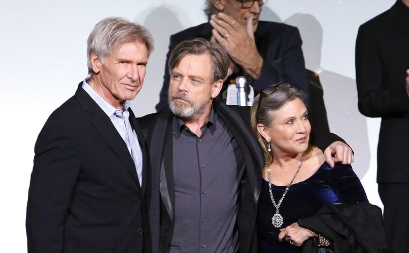 Harrison Ford, Mark Hamill and Carrie Fisher attend the world premiere of Star Wars: The Force Awakens. Photo: Getty Images