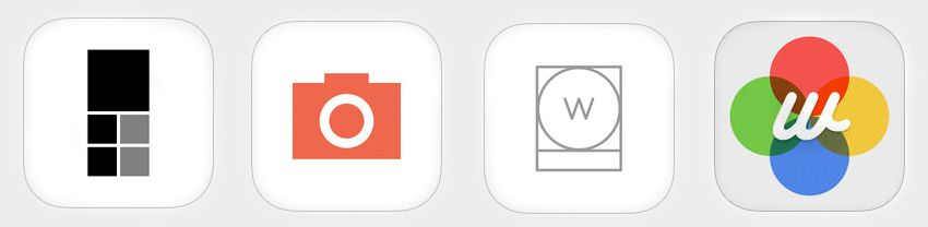 Great smart phone apps for photography. From left: Priime, Manual, White album, Whitagram