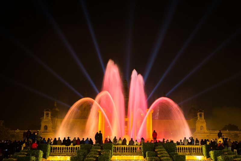 You can see the fountain light show down below from the bar at Museu Nacional d'art de Catalunya. Photo: Shutterstock