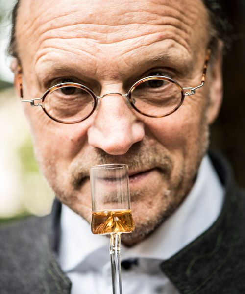 Vinegar producer Georg Heinrich Wiedemann doing an odor sample of one of his many high-quallity vinigars. Photo: Achim Multhaupt
