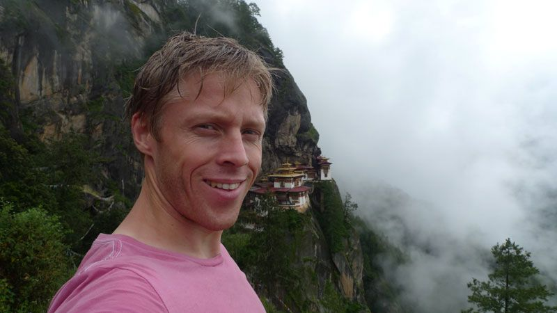 Gunnar Garfors delights in discovering new places. Garfors in Bhutan. Photo: Private