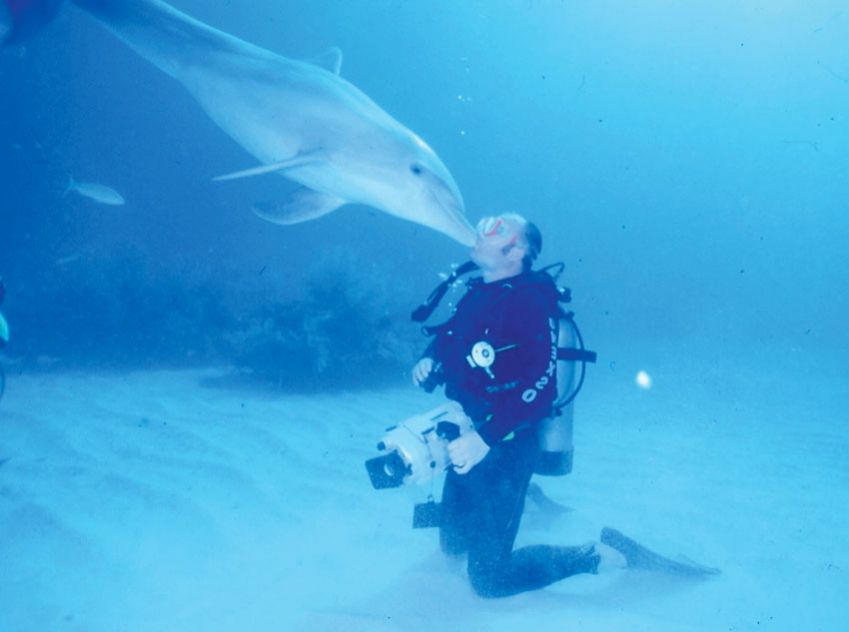 Filming dolphins in the Bahamas, and being rewarded with a kiss.