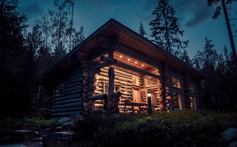 Villa Maria, one of Hawkhill's cabins, at night. Photo: Clément Morin