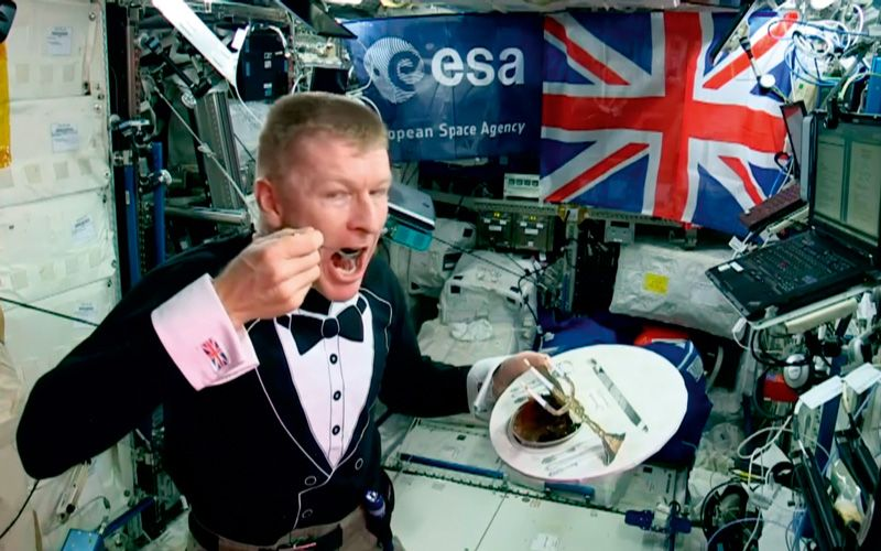 Long before liftoff , British astronaut Tim Peake challenged Heston Blumenthal to create dishes to eat that would remind him of home during his six-month mission onboard the International Space Station.