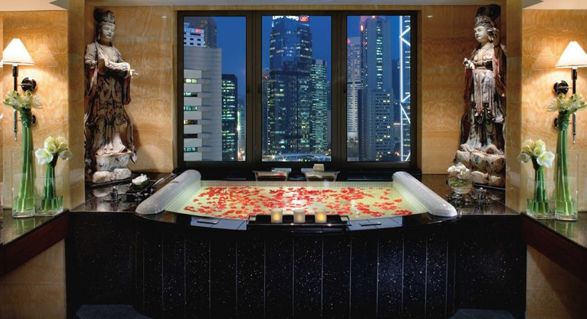 The bathtub at The Landmark, Mandarin Oriental in Hong Kong.