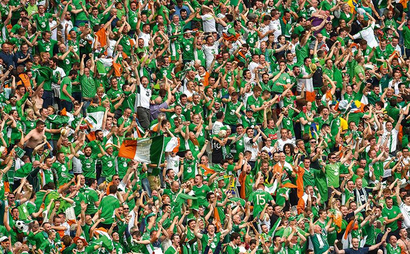 The army of traveling Irish fans, who were so popular in France in 2016, will be much missed this summer in Russia. Photo: Getty Images