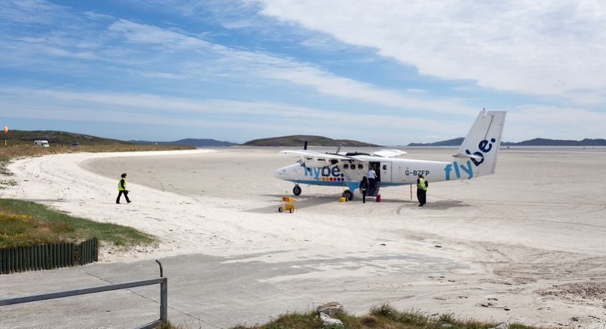The Isle of Barra is the only runway in the world where scheduled flights land directly on the beach. Photo: Shutterstock