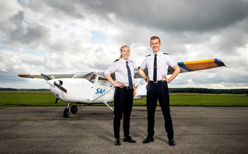 Trainee pilots Ida Lundkvist and Staffan Eriksson. Photo: Jonas Bilberg