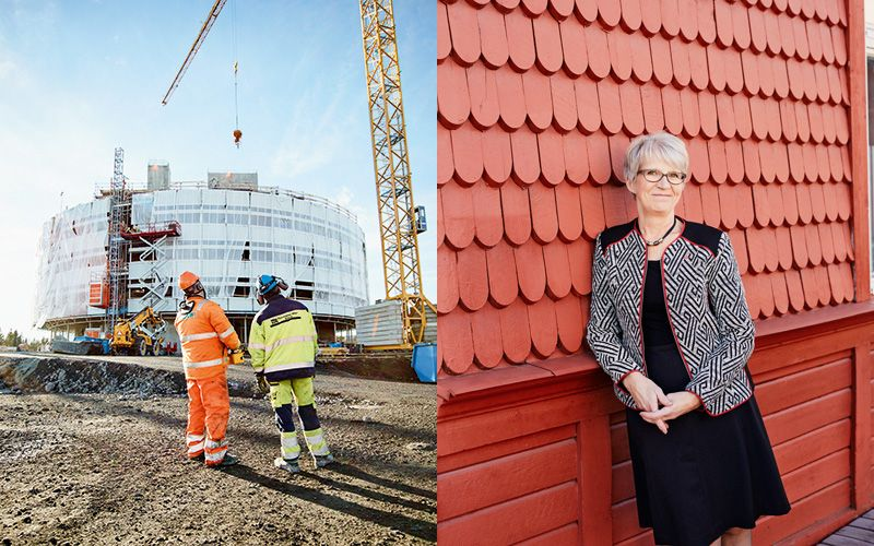 Left: The new town hall takes shape. It's designed by Henning Larsen Architects. Right: Kristina Zakrisson, Chair of Kiruna Municipal Council. Photo: Einar Aslaksen