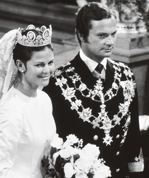 Sweden's Queen Silvia, wearing a Dior dress at her wedding to King Carl XVI Gustaf in 1976. Royal weddings are a chance for the monarchy to increase their popularity, says Ebba Kleberg von Sydow. Photo: Elisabeth Bengtsson, Kungahuset.se