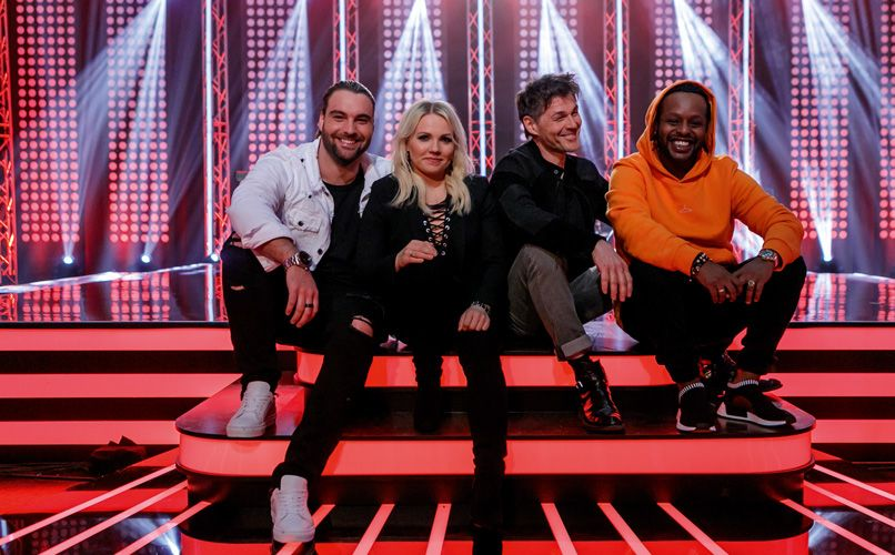 The mentors on Norway's current season of The Voice (left to right): Martin Danielle, Lene Marlin, Morten Harket and Yosef Wolde-Mariam.