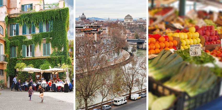 Enjoy thw view from Aventine Hill, visit a local fruit and vegetable market and don't forget to be a Roman and enjoy a pre-dinner aperitivo!