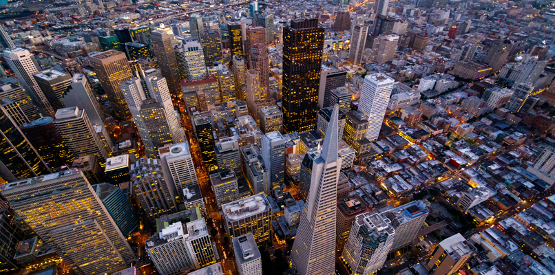 The Financial District in San Francisco seen from above. Photo: Shutterstock.