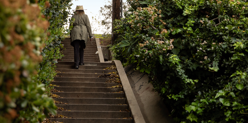 Woman walking the Silver Lake's stairways.