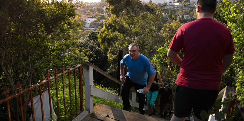 People working out on the popular Santa Monica stairs.