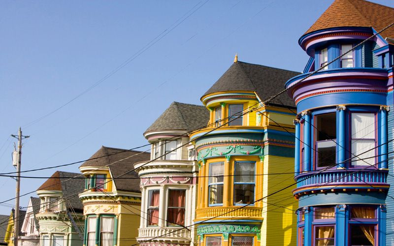 Victorian houses in the Haight-Ashbury district. Photo: Getty Images