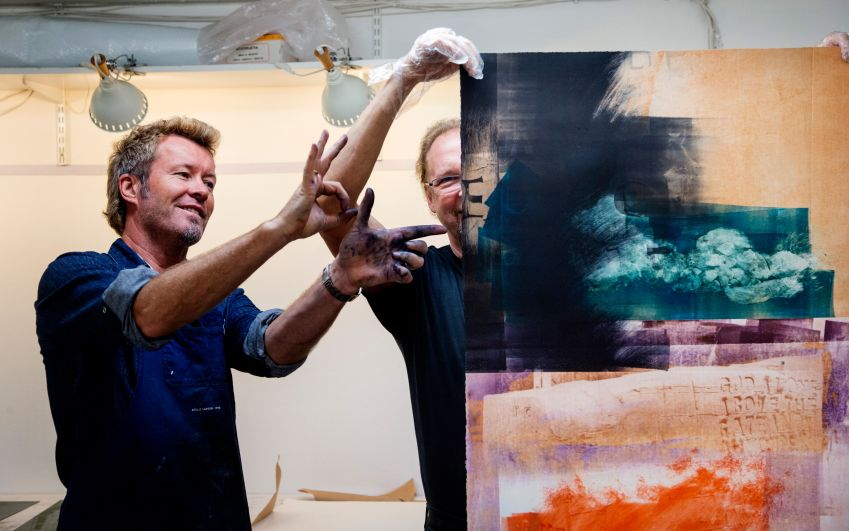 Magne Furuholmen works on pieces that will feature in his joint exhibition with Queen Sonja. Photo: Tom A. Kolsstad